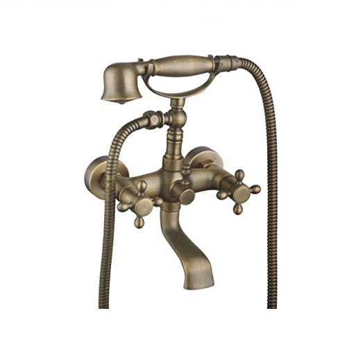 Amyfaucet Brass Wall Mounted Shower Set Bathtub Faucet with Hand Shower Telephone Style Z2015088305 Telephone Shower