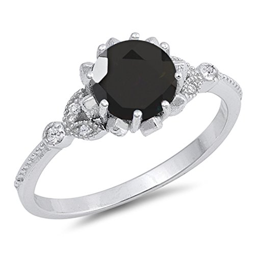925 Sterling Silver Faceted Natural Genuine Black Onyx Round Ring Size 8 Genuine Round Black Onyx Ring