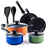 Cook N Home 02602 Stay Cool Handle, Multicolor 10-Piece Nonstick Cookware Set