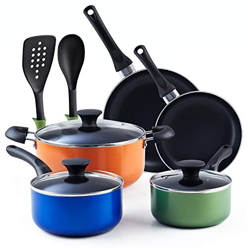 Cook N Home 02602 Stay Cool Handle, Multicolor 10-Piece Nonstick Cookware Set,