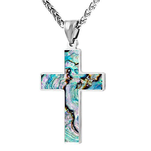 Abalone Shell Simple Cross Necklace Prayer Crucifix Pendant Choker Men Women Jewelry Enamel Link Chain Gift