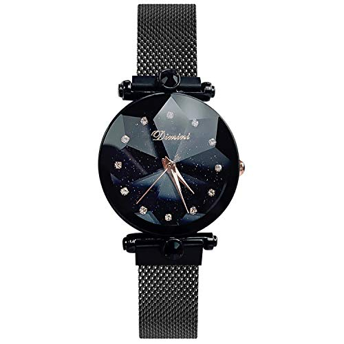 RORIOS Fashion Analogue Quartz Watches Magnetic Mesh Band Starry Sky Dial Simulated Diamond Wrist Watches for Girl/Women