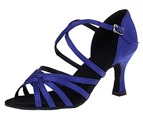 Tda Femmes Cheville Sangle Talon Évasé Style De Satin Salsa Tango Samba Chaussures De Danse Latine Moderne 7.5cm Bleu