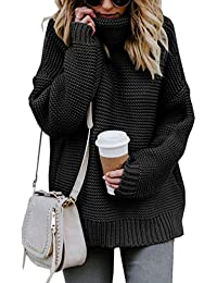 Women's Casual Long Sleeve Turtleneck Cable Knit Oversized Pullover Sweater Tops