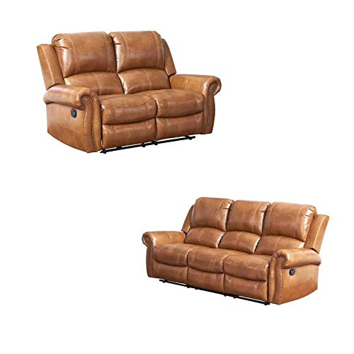 Winston 2 Piece Living Room Set with Reclining Loveseat and Sofa in Brown -