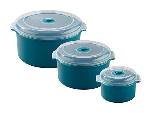 Ernesto - Juego de 3 recipientes para microondas (azul), forma ...