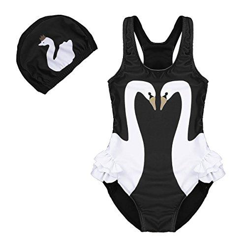 DONA Kids Toddler Girls Swan Print One Piece Swimsuits Ruffle Bathing Suit Beachwear with Swim Cap