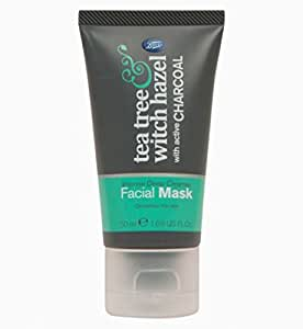 Boots Tea Tree and Witch Hazel Charcoal Facial Face Mask 50ml FOR INTENSE DEEP CLEANSE