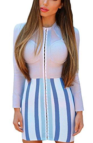 La Vogue Robe Mini Bleu Blanc Femme Bandage Rayé Moulant Manches Longues