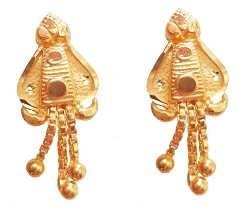 SATFALE JEWELLERS Solid 22K 22 Carat Fine Yellow Gold 916 Stamped Hallmarked Indian Earrings