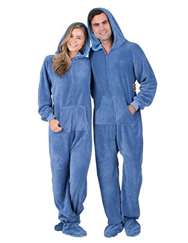 [Footed Pajamas - Under The Sea Adult Hoodie Chenille - Medium] (Adult Footy Pajamas)