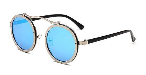 083bb69647543 GAMT Vintage Round Metal Frame Sunglasses Circle Hippie Mirrored Lens for  Unisex Blue Mirror