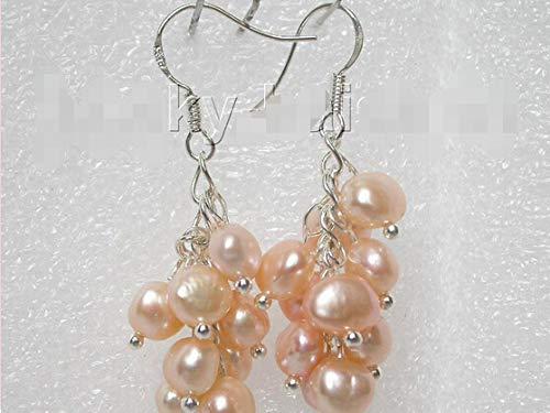 Lovely Women's Wedding Jewelry> >>>Grape Baroque Pink Pearls Dangle Earrings 925ss Hook J7172