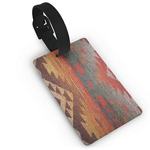 PVC Baggage Tags Art Navajo Orange and Grey Print with Custom Designs and Strap for Plane Travel for Men