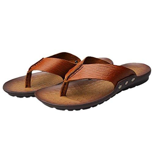 SHANGXIAN Los hombres de pie chanclas en las sandalias de cuero Casual de verano Brown