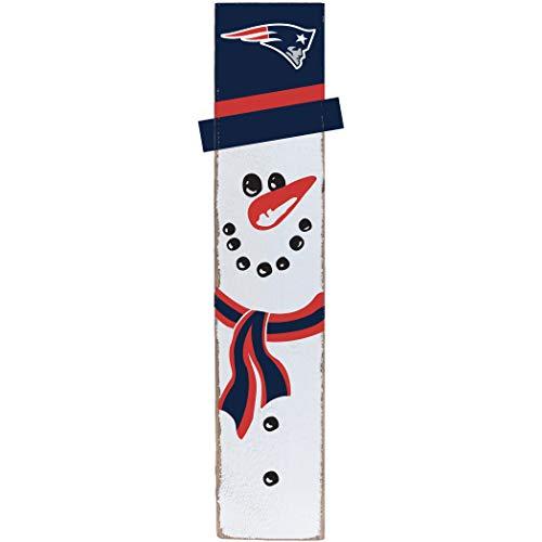 (Rustic Marlin Designs NFL New England Patriots Snowman Barn Board Sign, Team Color, 10