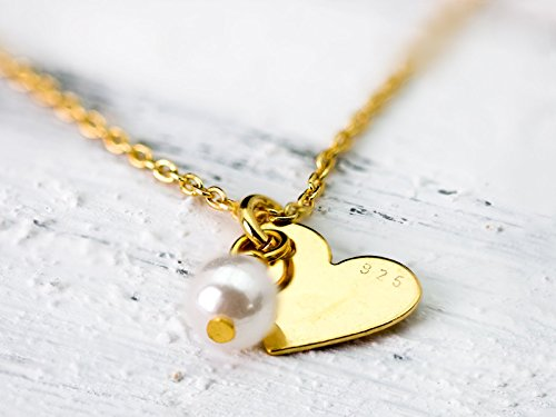 Gold Vermeil Heart Link - Heart pendant // Vermeil link chain with a sweet vermeil heart and white pearl