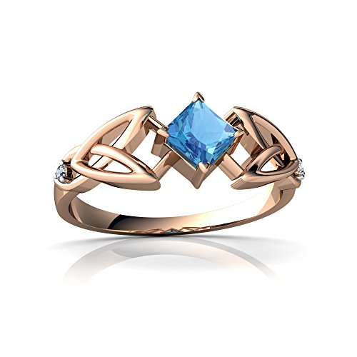 14kt Gold Blue Topaz and Diamond 4mm Square Celtic Trinity Knot Ring