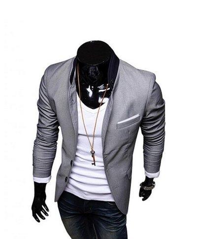 Worldeal Mens Casual Slim Fit Suit Blazer Coat Jackets (L, Grey)