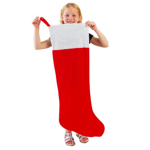Large Christmas Stocking (One Red & White Jumbo Oversized Felt Christmas Stocking -)