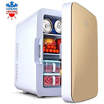 Mini Fridge with Cooler and Warmer, 10 Liter Large Capacity Portable Compact Fridge, Mini Refrigerator with AC/DC Dual Power Mode for Home Car Office Dormitory