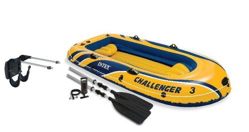 Intex Challenger 3 Boat 2 Person Raft & Oar Set Inflatabl...