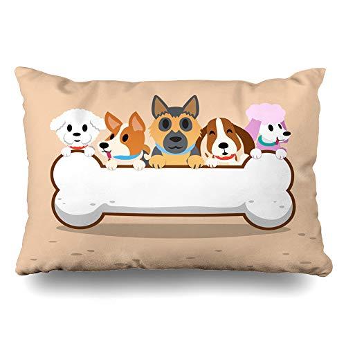 Ahawoso Throw Pillow Cover Standard 20x26 Graphic German Dogs Bone Shepherd Character Cute Frise Puddle Bichon Corgi Zippered Cushion Case Home Decor Pillowcase