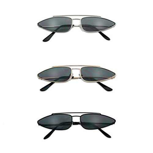 SunglassUP Ultra Slim Retro 90s Skinny Wide Oval Sun Glasses Narrow Metal Crossbrow Cateye Shades
