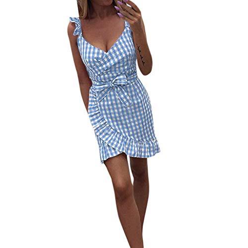 Hacia Mujer Volantes Riou Sexy Mujeres Fiesta Coctel Elegantes Azul Vestido Sin Cerezo Playa Con Atrás De Mangas Flor Bolsillo Vestidos Enrejado wzvq5CW