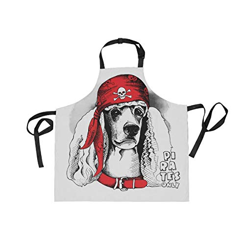 Spaniel Bbq Apron - BlueViper Spaniel Dog Red Pirate Bandana Home Kitchen Apron for Women Men with Pockets, Unisex Adjustable Bib Apron Perfect for BBQ, Grill, Baking, Cooking