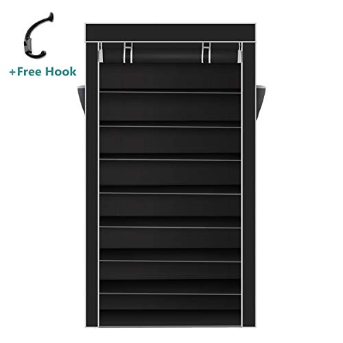 Lightingson 10 Tiers Shoe Rack with Dustproof Cover Closet Shoe Storage Cabinet Organizer...