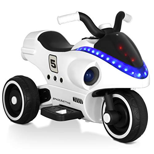 Girls Motorcycles Like - Costzon Electric Kids Ride on Motorcycle, 3 Wheels Battery Powered 6V Ride On Toy for Boys and Girls, Shark-Like Shape with Light, Music, Horn, Pedal, Moving Forward/Backward Functions, White
