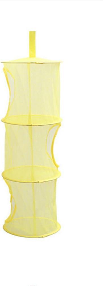 OUNONA Colgante Red de Malla de Almacenamiento Cesta Sujetador Ropa Interior Calcetines Organizador Ni/ños Juguetes Organizador Bolsa Amarillo