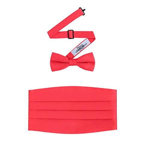 Set Cummerbund Red (Men's Formal Satin Bowtie and Cummerbund Set - Red, By S. H. Churchill)
