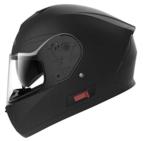 (Motorcycle Full Face Helmet DOT Approved - YEMA YM-831 Motorbike Street Bike Racing Crash Helmet with Sun Visor for Adult, Men and Women - Matte Black,Medium)