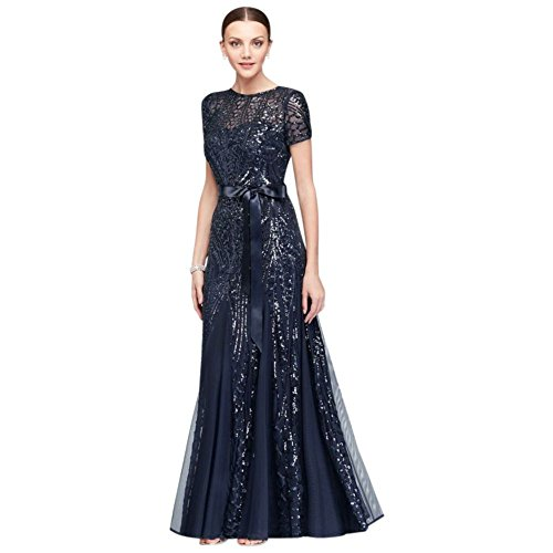 Short-Sleeve Sequined Illusion A-Line Mother of Bride/Groom Gown Style 1875, Navy, 16