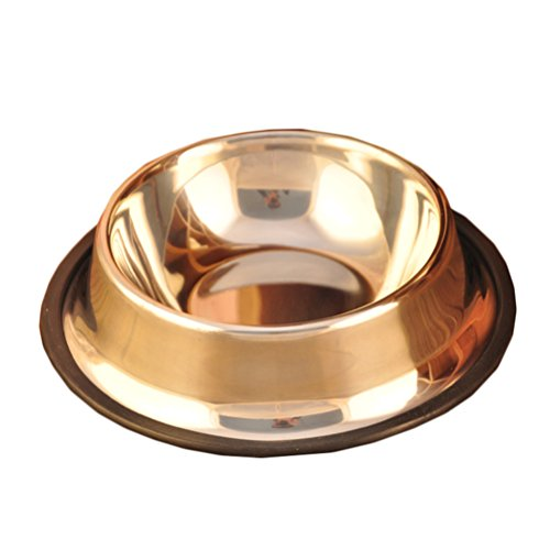 Rain's Pan Stainless Steel Dog Bowls Dog Feeder with Rubber Base for (Lp Large Steel Bottom)