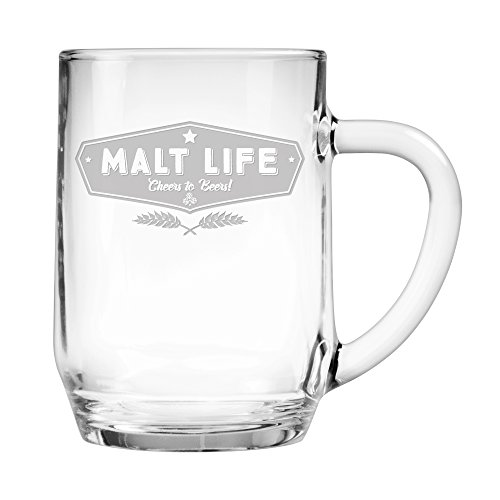 Malt Life Funny Glass Beer Mug for Men, Dad, Husband, Brother, Boyfriend - 20 Ounce Hand Etched Beer Mug for Him, Great Birthday, Father's Day Gift by Fineware ()