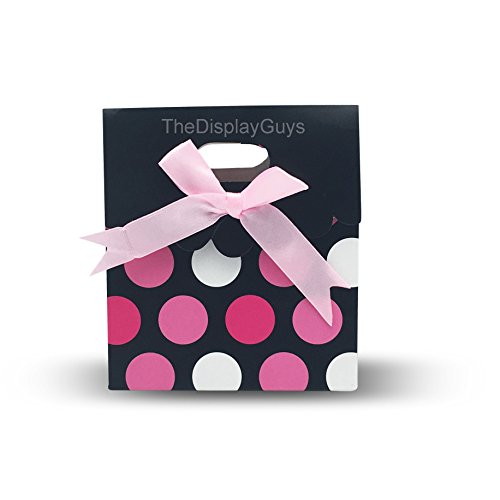 The Display Guys 12 pcs Dozen Paper Gift Bags Box Tote Bow Bowknot Attached for Holiday Wedding Graduation Party Favor Presents (4 1/2x4x2 3/4 inches, Pink Red White - Bags Boxes Bows