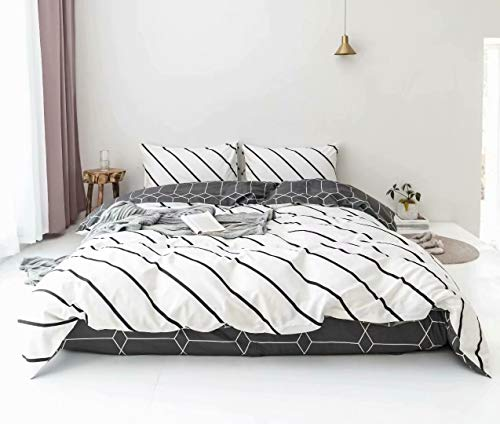 Wellboo Black Duvet Covers Striped Twin White Slanted Striped Bedding Covers Sets Cotton Reversible Grey White Abstract Geometric Pattern Kids Adult Women Comforter Covers Diagonal Striped Soft (Twin Zebra Duvet Cover)
