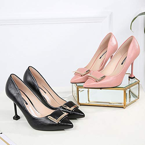 Slim Middle Shoes Work SFSYDDY Professional 100 Mouth Shoes Shallow Single Cat Heels High Heels 10Cm Pointed Heels Fold Pink 8xqgw5x6z