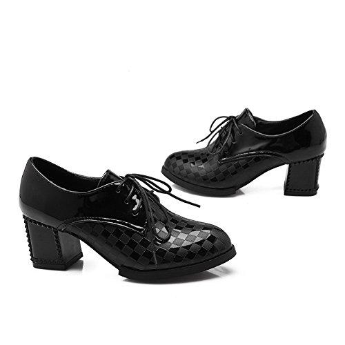Balamasa Mesdames Mode Motif À Carreaux Talon Pointu Toe Chaussures En Cuir Verni-chaussures Noir