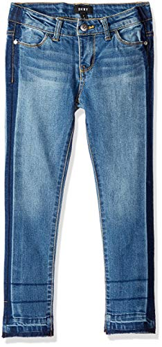(DKNY Girls' Big Tack and Tear Skinny Jean, Blue Jay, 8)