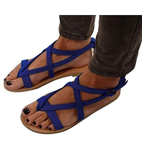 Verano Bohemia Bajos Mujer Mujer De De Sandalias Minetom Sandalias Casuales Zapatos Planas Cuero Gladiador Sandalias Zapatos Azul Sandalias 7w1qEXHE