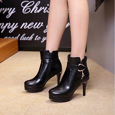 RTRY Zapatos De Mujer Polipiel Moda Otoño Invierno Botas Botas Chunky Talón Puntera Redonda Botines/Botines Hebilla Para Vestimenta Casual Rojo Y Negro US6.5-7 / EU37 / UK4.5-5 / CN37