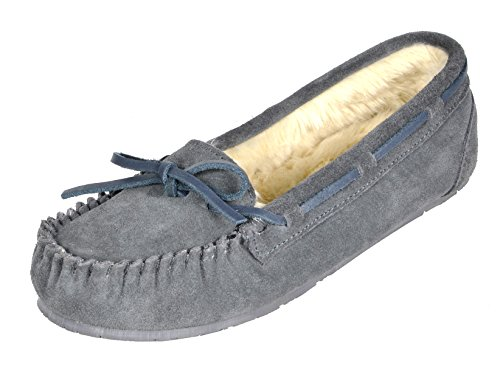 DREAM PAIRS Women's Shozie-01 Grey Faux Fur Slippers Loafers Flats Shoes Size 5.5-6 M US