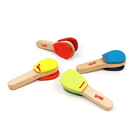 GonPi |Toy Musical Instruments | 1 Piece Baby Toy Musical Instrument Cartoon Wooden Castanets Baby Musical Educational Instrument Toys Baby Rattle Toy