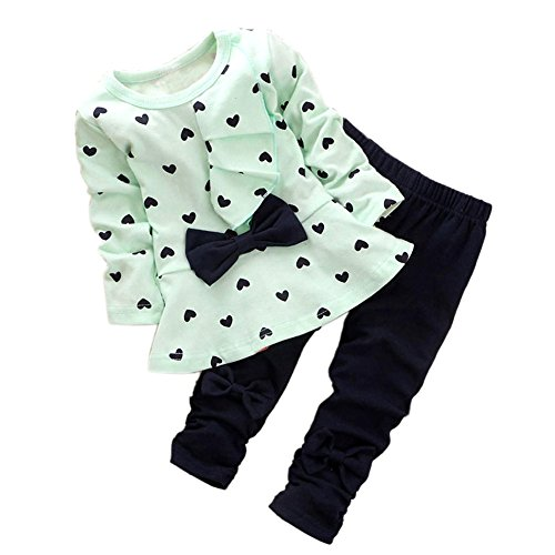 ASHERANGEL Baby Girl Cute 2pcs Set Children Clothes Suit Top and Pants Light Green Age(2T) - Cute Baby Girl Clothing