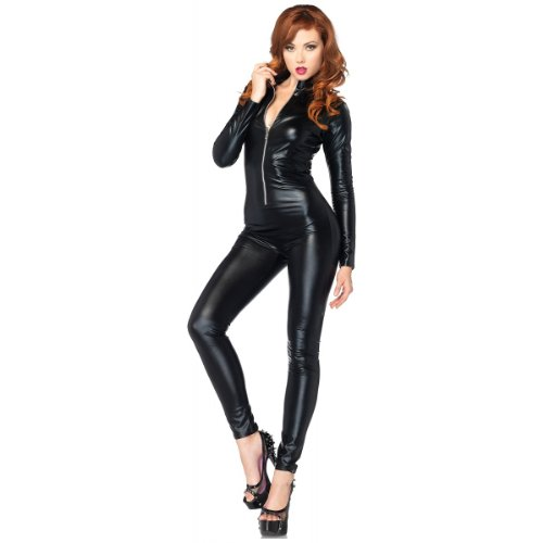 Leg Avenue Costumes Wet Look Zipper Front Cat Suit, Black, - Sales Wet Suit
