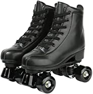 Gets Womens Roller Skates Artificial Leather Adjustable Double Row 4 Wheels Roller Skates Shiny Skates Perfect